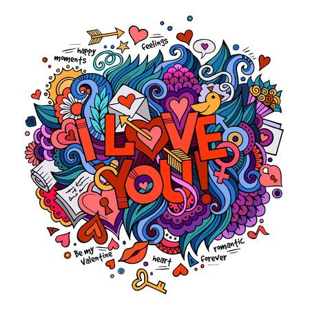 Illustration pour I Love You hand lettering and doodles elements - image libre de droit
