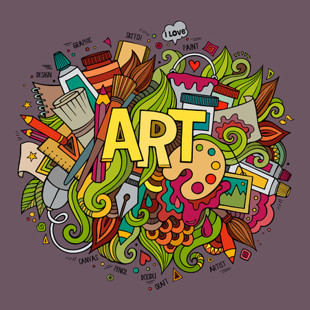 Ilustración de Art hand lettering and doodles elements. Vector illustration - Imagen libre de derechos