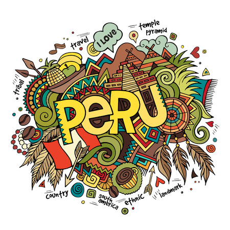 Illustration for Peru hand lettering and doodles elements background. Vector illustration - Royalty Free Image