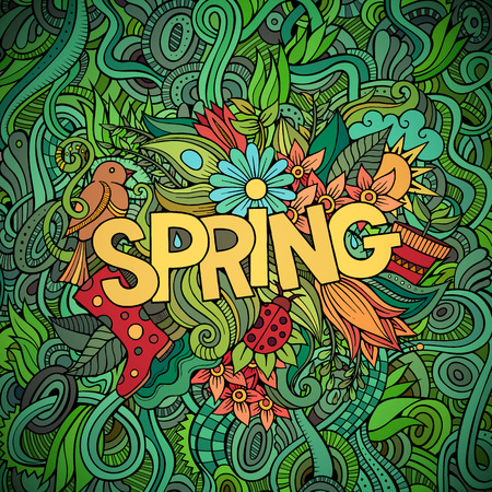 Illustration pour Spring hand lettering and doodles elements vector illustration - image libre de droit