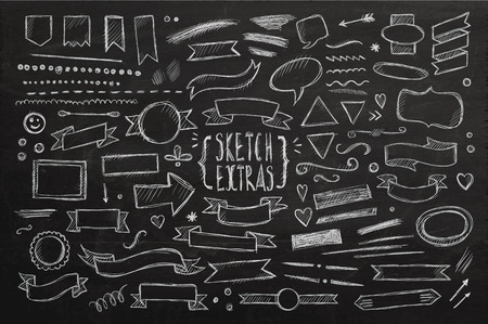 Ilustración de Hand drawn sketch elements. Vector chalkboard illustration. - Imagen libre de derechos