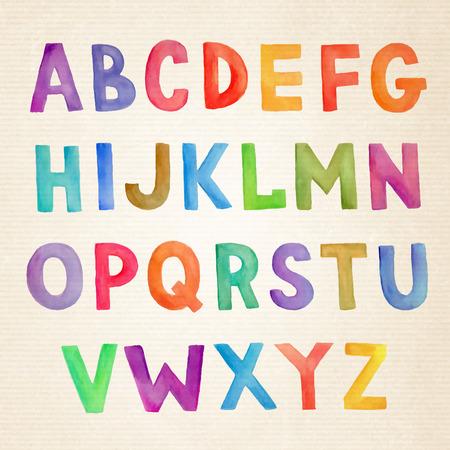 Ilustración de Watercolor hand drawn colorful vector handwritten alphabet - Imagen libre de derechos