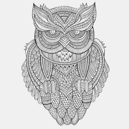 Illustration pour Decorative abstract ornamental Owl. Vector hand drawn illustration - image libre de droit