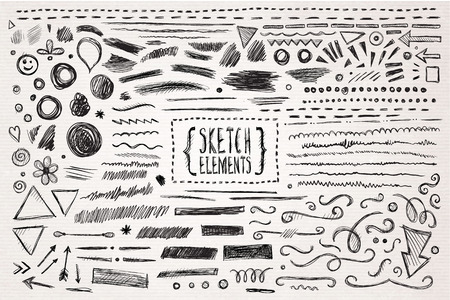 Ilustración de Hand drawn sketch hand drawn elements. Vector illustration. - Imagen libre de derechos