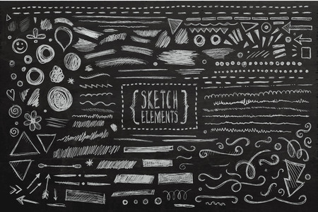 Ilustración de Hand drawn sketch hand drawn elements. Vector chalkboard illustration. - Imagen libre de derechos
