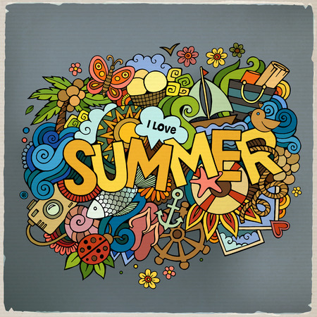 Illustration for Summer hand lettering and doodles elements. Vector illustration - Royalty Free Image