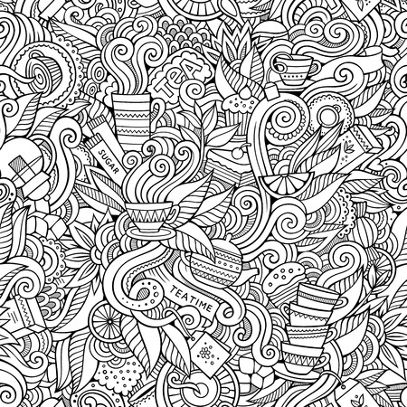 Illustrazione per Seamless decorative tea doodles abstract pattern background - Immagini Royalty Free