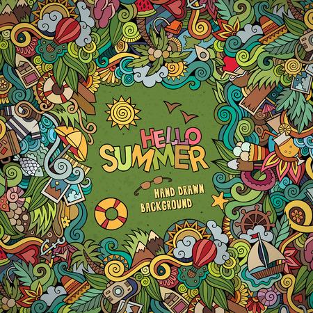 Illustration pour Doodles abstract decorative summer vector frame. greeting card design - image libre de droit