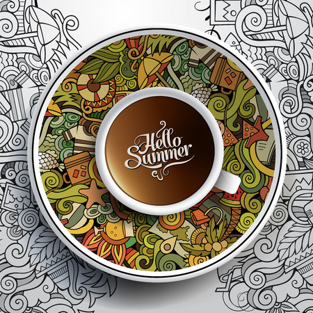Ilustración de Vector illustration with a Cup of coffee and hand drawn watercolor summer doodles on a saucer and background - Imagen libre de derechos