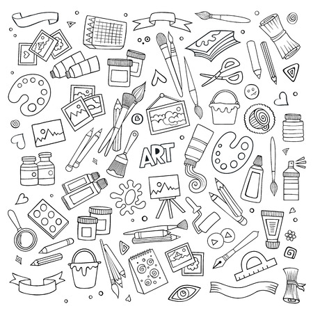 Illustration pour Art and craft hand drawn vector symbols and objects - image libre de droit
