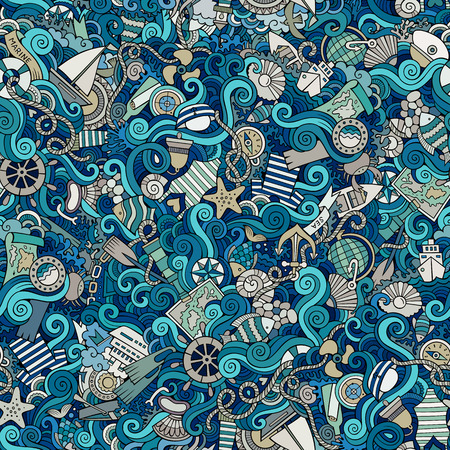 Illustration pour Seamless abstract pattern nautical and marine background - image libre de droit