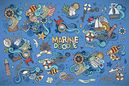 Ilustración de Marine nautical hand drawn vector symbols and objects - Imagen libre de derechos