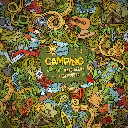Illustration pour Cartoon vector doodles hand drawn Camping frame background - image libre de droit