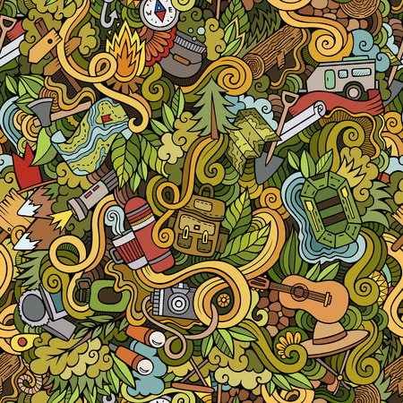 Illustration pour Cartoon vector doodles hand drawn camping seamless pattern - image libre de droit
