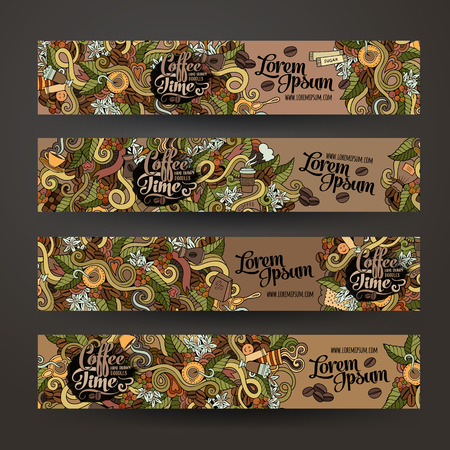 Illustration for Vector banner templates set with doodles coffee theme - Royalty Free Image