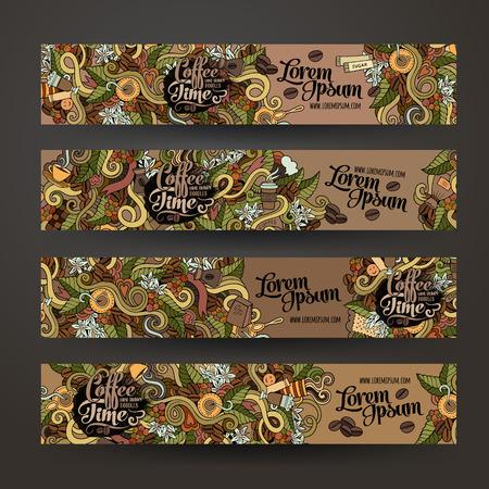 Illustration pour Vector banner templates set with doodles coffee theme - image libre de droit