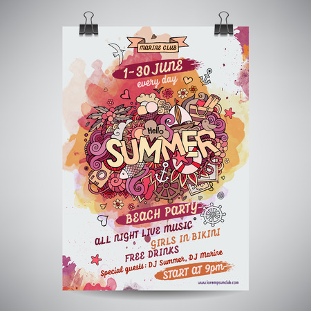 Illustrazione per Vector summer doodles watercolor paint party poster design - Immagini Royalty Free