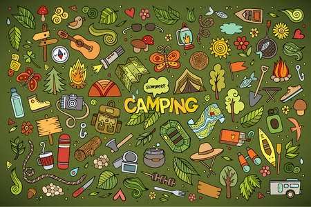 Illustration pour Camping nature hand drawn vector symbols and objects - image libre de droit