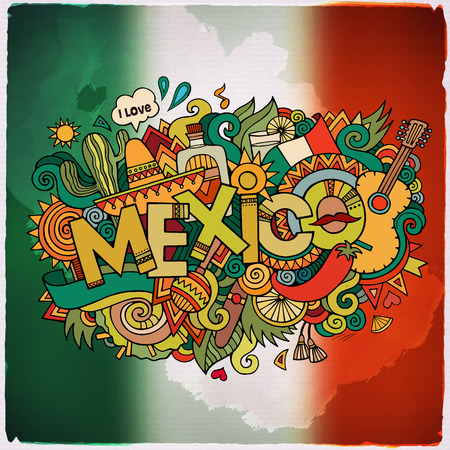 Illustration for Mexico country hand lettering and doodles elements and symbols emblem. Vector blurred flag background - Royalty Free Image