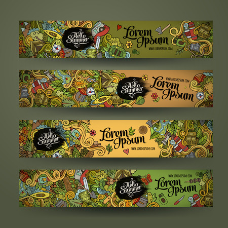 Vector banner templates set with doodles camping theme