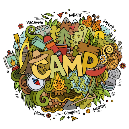Illustration pour Summer camp hand lettering and doodles elements and symbols background. Vector hand drawn sketchy illustration - image libre de droit