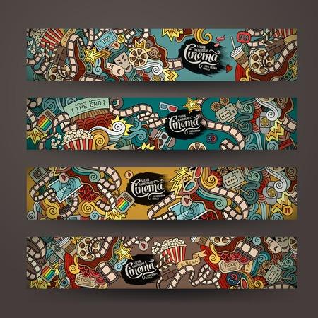 Ilustración de Vector doodles cinema movie design banner templates set - Imagen libre de derechos