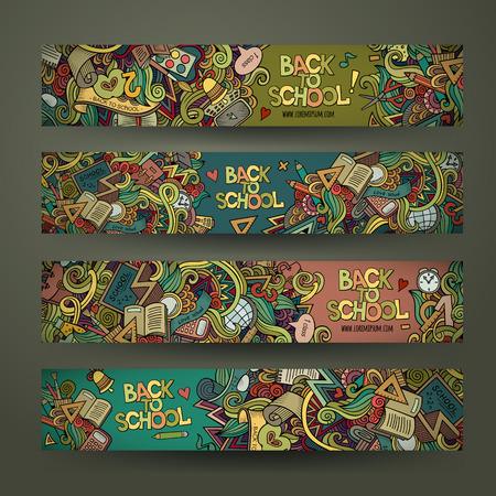 Ilustración de Vector hand drawn doodles school design banners template set - Imagen libre de derechos
