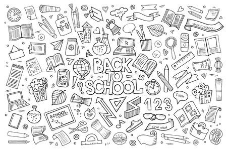 Illustration pour School and education doodles hand drawn vector sketch symbols and objects - image libre de droit