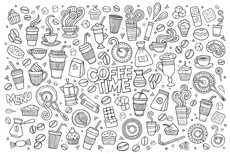 Illustration pour Coffee time doodles hand drawn sketchy symbols and objects - image libre de droit
