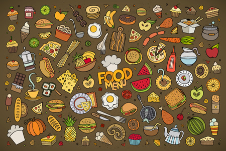 Illustration pour Colorful hand drawn Doodle cartoon set of objects and symbols on the food theme - image libre de droit