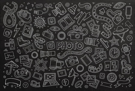 Illustration pour Chalkboard hand drawn Doodle cartoon set of objects and symbols on the photo theme - image libre de droit