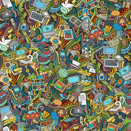 Illustration pour Cartoon hand-drawn Doodles on the subject of social media, internet, technical, computer, transport icons and symbols seamless pattern. Colorful background - image libre de droit