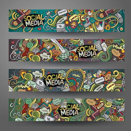 Illustration pour Cartoon hand-drawn social media, internet doodles. Horizontal banners design templates set - image libre de droit