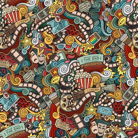 Illustration pour Cartoon doodles hand drawn cinema, movie, film seamless pattern - image libre de droit