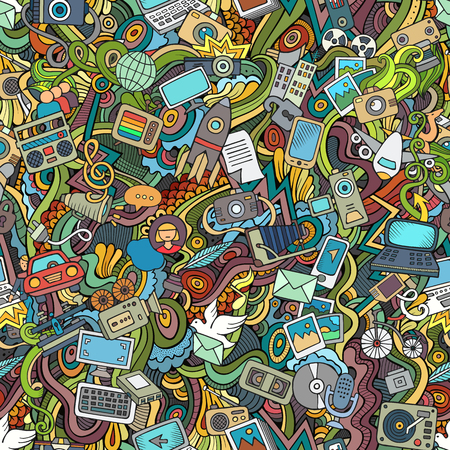 Ilustración de Cartoon hand-drawn Doodles on the subject of social media, internet, technical, computer, transport icons and symbols seamless pattern. Colorful background - Imagen libre de derechos