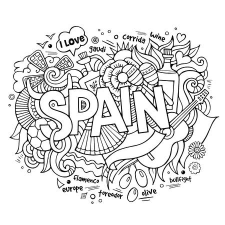 Ilustración de Spain country hand lettering and doodles elements and symbols background - Imagen libre de derechos