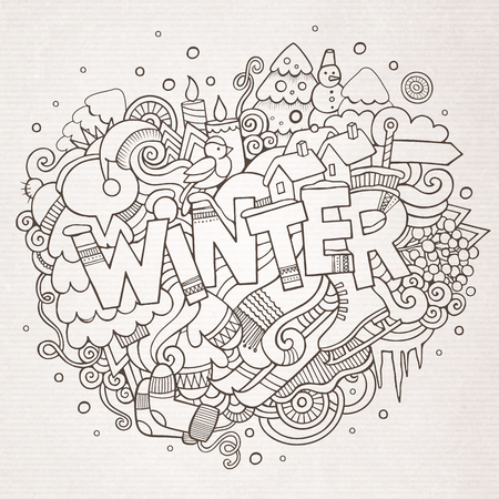 Illustration pour Winter hand lettering and doodles elements background - image libre de droit