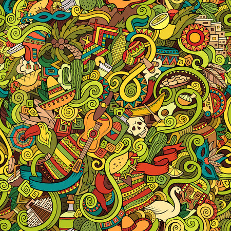 Illustration pour Cartoon hand-drawn doodles on the subject of Latin American style theme seamless pattern. Colorful vector background - image libre de droit