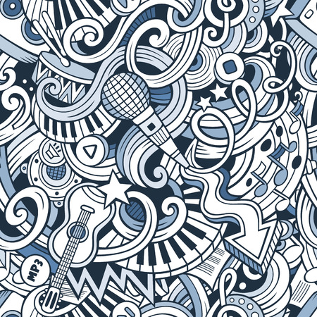 Illustration pour Cartoon hand-drawn doodles on the subject of music style theme seamless pattern. Vector line art background - image libre de droit