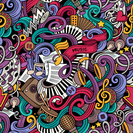 Illustration pour Cartoon hand-drawn doodles on the subject of music style theme seamless pattern. Vector color background - image libre de droit