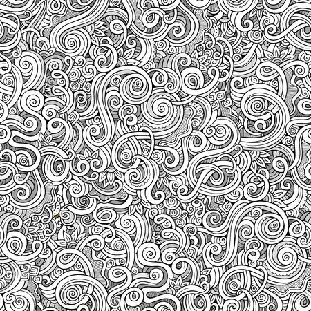Illustration pour Decorative hand drawn doodle nature ornamental curl vector sketchy seamless pattern - image libre de droit
