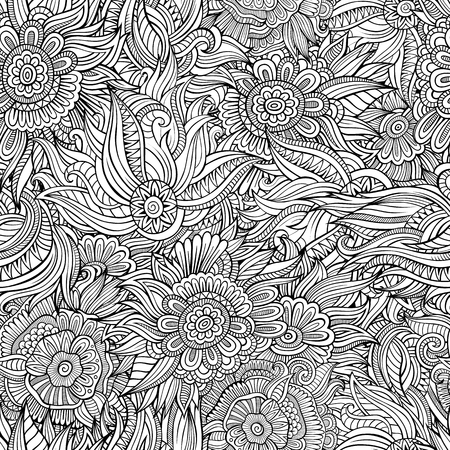 Illustration pour Beautiful decorative floral ethnic ornamental sketchy seamless pattern. Can be used for wallpaper, pattern fills, web page background, surface textures, coloring. - image libre de droit