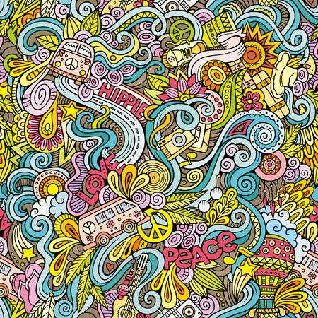 Illustration pour Cartoon hand-drawn Doodles on the subject of Hippie style theme seamless pattern. Colorful vector background - image libre de droit