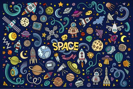 Ilustración de Colorful vector hand drawn doodles cartoon set of Space objects and symbols - Imagen libre de derechos