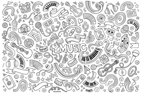 Illustration pour Sketchy vector hand drawn doodles cartoon set of Music objects and symbols - image libre de droit