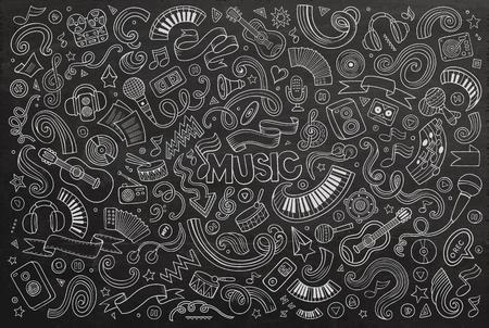 Illustration pour Chalkboard vector hand drawn doodles cartoon set of Music objects and symbols - image libre de droit