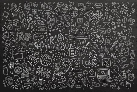 Illustration pour Vector chalkboard line art Doodle cartoon set of objects and symbols on the Social Media theme - image libre de droit