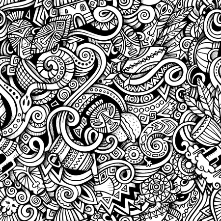 Illustration pour Cartoon hand-drawn doodles on the subject of Africa style theme seamless pattern. Vector trace background - image libre de droit