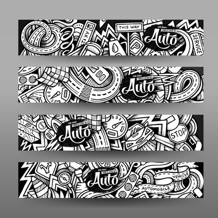Illustration pour Graphics vector hand drawn sketchy trace Automotive Doodle horizontal banner. Design templates set - image libre de droit