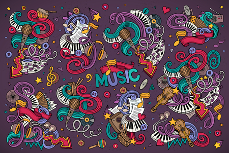 Illustration pour Colorful vector hand drawn Doodle cartoon set of objects and symbols on the music theme - image libre de droit